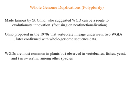 Whole Genome Duplications (Polyploidy)
