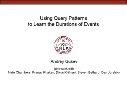 Using Query Patterns
