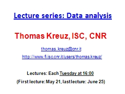 Lecture series: Data analysis