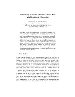 Extracting Semantic Networks from Text Via Relational Clustering Stanley Kok and Pedro Domingos Department of Computer Science and Engineering University of Washington Seattle WA  USA kokspedrod cs
