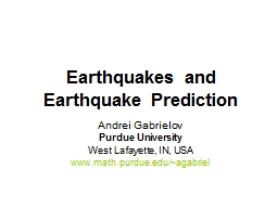Earthquakes and Earthquake Prediction PowerPoint PPT Presentation