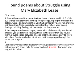 Found poems about Struggle using Mary Elizabeth Lease