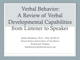 Verbal Behavior: