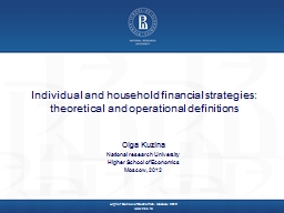 Individual and household financial strategies: theoretical