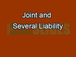 Joint and Several Liability PDF document - DocSlides