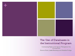 The Use of Databases in the Instructional Program