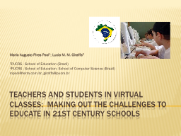 TEACHERS AND STUDENTS IN VIRTUAL CLASSES:  MAKING OUT THE C