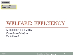 Welfare: Efficiency PowerPoint PPT Presentation