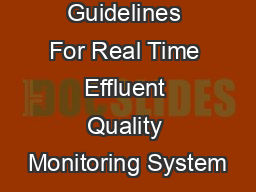 Guidelines For Real Time Effluent Quality Monitoring System