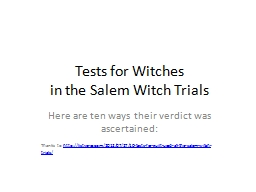 Tests for Witches