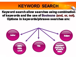 Keyword search allow searches using combination of keywords