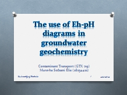 The use of Eh-pH diagrams in groundwater geochemistry