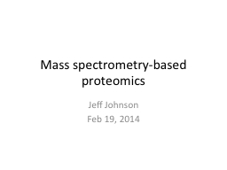Mass spectrometry-based proteomics PowerPoint PPT Presentation