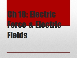 Ch  18: Electric Force & Electric Fields