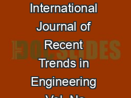 LETTERS International Journal of Recent Trends in Engineering Vol  No