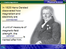In 1820 Hans Oersted discovered how magnetism and electrici