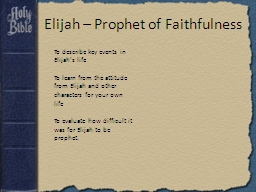 Elijah – Prophet of Faithfulness