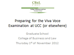 Preparing for the Viva Voce Examination at UCC (or elsewher