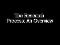 The Research Process: An Overview