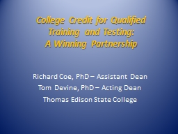 College Credit for Qualified