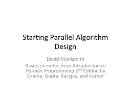Starting Parallel Algorithm Design PowerPoint PPT Presentation