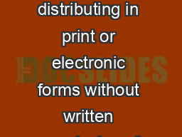 Copyright   IGI Global distributing in print or electronic forms without written permission of IGI Global is prohibited