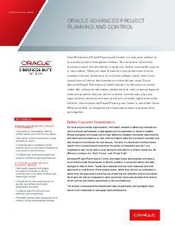 ORACLE DATA SHEET ORACLE PROJECT MANAGEMENT KEY FEATURES WORK MANAGEMENT x efine the workplan and associated resources  p ublish and maintain versions x iew your schedule  critical path and costs as