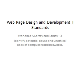 Web Page Design and Development I PowerPoint PPT Presentation