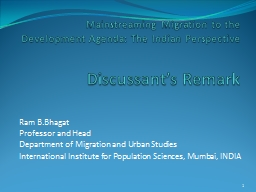 Mainstreaming Migration to the Development Agenda: The Indi