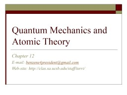 Quantum Mechanics and Atomic Theory PowerPoint PPT Presentation
