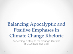 Balancing Apocalyptic and Positive Emphases in Climate Chan