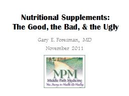 Nutritional Supplements: