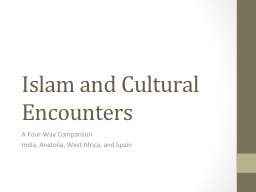 Islam and Cultural Encounters