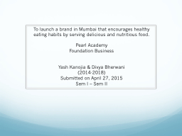 To launch a brand in Mumbai that encourages healthy eating