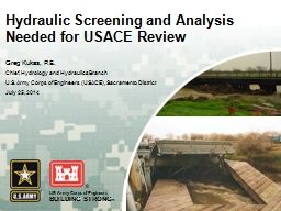 Hydraulic Screening and Analysis Needed for USACE Review