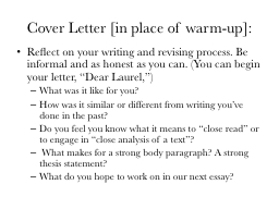 Cover Letter [in place of warm-up]: