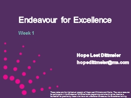 Endeavour for Excellence PowerPoint PPT Presentation