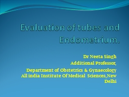 Evaluation of tubes and Endometrium.
