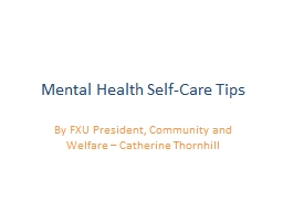 Mental Health Self-Care Tips PowerPoint PPT Presentation