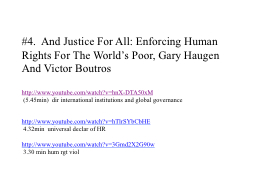 #4.  And Justice For All: Enforcing Human Rights For The Wo