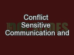 Conflict Sensitive Communication and