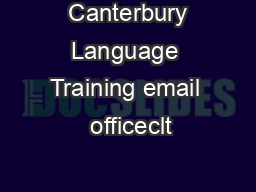 Canterbury Language Training email  officeclt