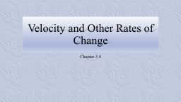 Velocity and Other Rates of Change