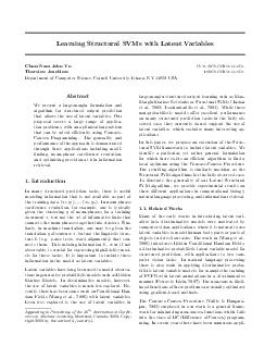 Learning Structural SVMs with Latent Variables ChunNam John Yu cnyucs