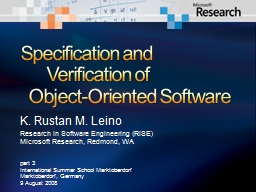 Specification and 	Verification of