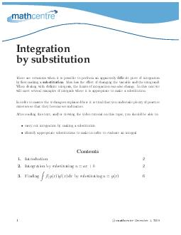 Integration by substitution There are occasions when it is possible to perform an apparen tly dicult piece of integration by rst making a substitution PowerPoint PPT Presentation