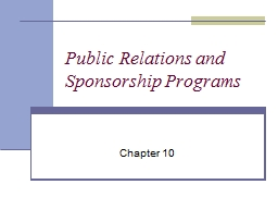Public Relations and Sponsorship Programs