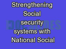 Strengthening Social security systems with National Social