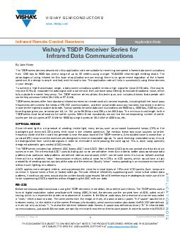 VISHAY SEMICONDUCTORS Infrared Remote Control Receivers Application Note Vishays TSDP Receiver Series for Infrared Data Communications APPLICATION NOTE Revision Aug Document Number  THIS DOCUMENT IS