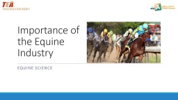 Importance of the Equine Industry